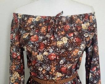 Vintage Bohemian floral cotton smock dress autumn colours 1970s