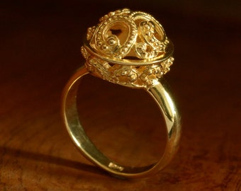 RING Genuine 24K Gold Vermeil over Sterling SILVER 4.50 g US size 5 ~ Handmade
