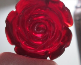 Vintage Red Rose Glass Pendant