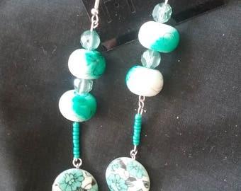 Teal Blue Beaded Flower Earrings, Teal Blue Earrings, Flower Earrings, Long Beaded Earrings, Dangle Earrings, Teal Blue Jewelry