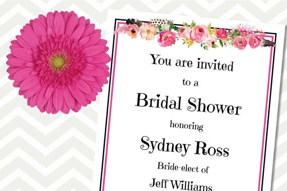 Floral Invitations, Bridal Shower Invitations, Printable Invitation, Pink, Party Invitations, Invitations, Pink Flowers