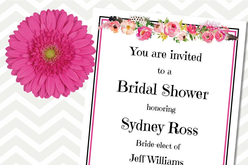 Floral Invitations Bridal Shower Invitations Printable – Flower Party Invitations