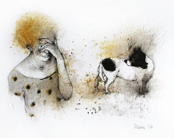 Original Watercolor painting Woman and Dog. Original Watercolour Painting. Watercolor mixed media illustration. Pet portrait, dog wall art