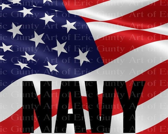 Navy Military American Flag Birthday - Edible Cake and Cupcake Topper For Birthday's and Parties! - D21926