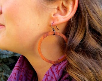 Wood Hoop Earrings, Hoop Earrings, Rosewood Hoop Earrings
