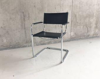 1970'smid century Italian Bauhaus sale leather chair with tubular chrome frame