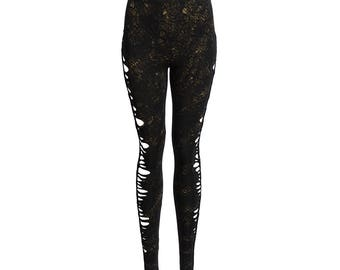 womens leggings with hand painted Snake skin print and woven side details
