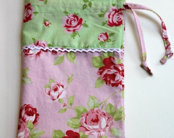 Shabby Chic Laundry Bag, Rose Drawstring Cotton Laundry Bag, Storage Bag, Tanya whelan