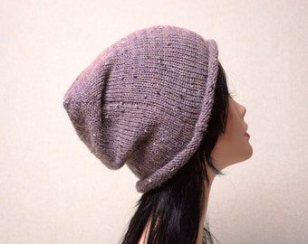 thick winter beanie gift from husband purple Slouchy Beanie Hat Knitting womens accessories