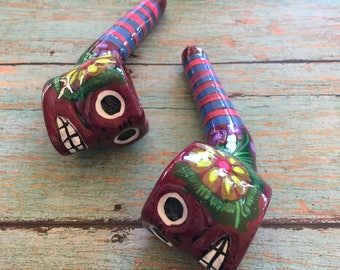 Maroon Skull Pipe (Purple Skull Day of Dead Mexican Ceramic Smoking Pipe Tobacco Pipe Sugar Skull Hand Painted Boho Unique Pipe Girly Pipe)