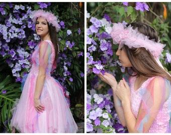 Woman's Carnival Fairy  Costume ~  Tulle Headpiece ~  Renaissance ~ Cosplay ~ Theatre ~ Mardi Gras