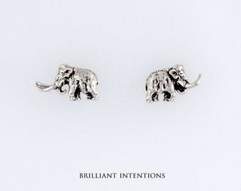 925 Sterling Silver Woolly Mammoth Design Post or Stud Earrings, Dinosaurs & Fine Jewelry - BI-1211