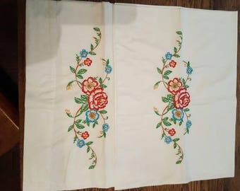 """Vtg Pr Embroidered Pillow Cases Rose Floral Red Vine Aqua Green Leaves Accented Orange Cotton 31"""" L x 19.5"""" W Hand Crafted"""