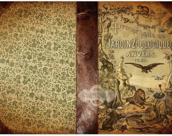 JARDIN ZOOLOGIQUE - Printable Download Digital Collage Sheet Art Book Cover Paper Craft Scrapbook