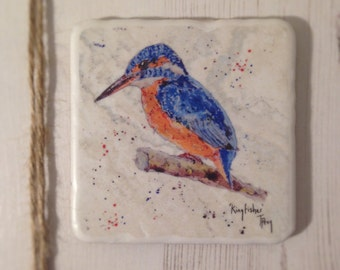 Coaster, Kingfisher, Animal Coaster, Ceramic, Tile coaster, hand made, Decor, Interior Kitchen, Animals, British Wildlife, Country, Birds