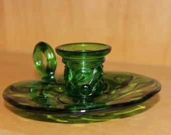 Green Glass Finger Candle Holder. Circa 1960's