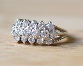 Vintage 1940s 1.10 CTW White Gold Diamond Ring - Vintage Engagement Ring - 1940s Engagement Ring - Diamond Engagement Ring