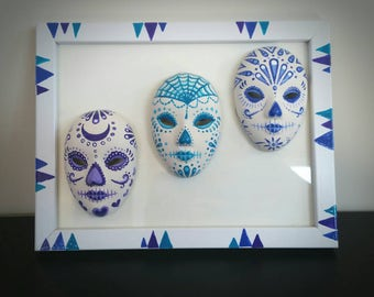 Hand painted dia de los muertos/day of the dead masks framed
