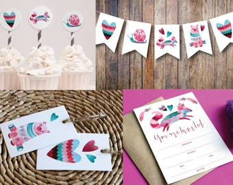 Woodland Printable Party MINI Kit   Forest Party   Instant Download PDF   Banner   Invitation   Cupcake Toppers   Favor Tags   Celebrations