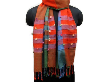 Multicolored scarf/ stole/ check scarf/ embroidered scarf / orange and green scarf/ cotton scarf/  gift ideas.