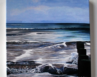 Turning Tide Print with Hand Embellishment. Breaking Waves. Seascape Print. Home Decor.