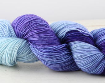 Hand dyed yarn,  80 / 10 / 10%  MCN, fingering weight, 400 yards, 'Gradient B'
