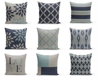 """Throw Pillow Covers, Navy Blue Grey , 16"""" Cushion Covers, Accent Pillow Covers, Home Decor, Choose patterns for front and back!!!"""