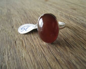 Sterling Silver Red Carnelian Gemstone Ring Size 7.25-7.50 (50)