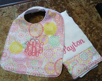 baby bib and burp cloth monogrammed