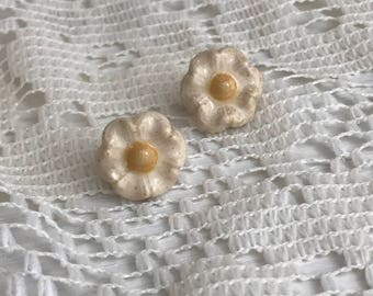 White floral begonia stud earrings