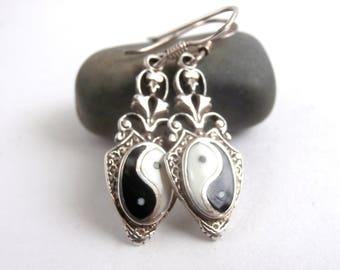 Yin Yang Earrings - Vintage Earrings - Drop Earrings - Sterling Silver
