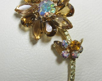 "Vintage Rhinestone Jewelry -  ""Juliana"" Flower Brooch Pin - Verified - Delizza & Elster"