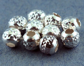 Pyramid Cut Bead Sterling Silver 5mm (Pkg of 10)  (ABS-PC5)