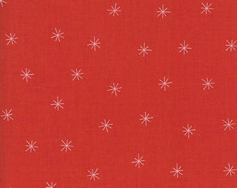 Gingiber Merrily Fabric- Snowy Stars Berry- red and white star asterisk fabric