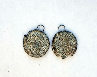 Delicate Lace Impression - Withered Rough Artifacts -  Earring Pair Ceramic
