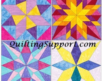 15 Inch EQ Star Block Set of 4 Paper Piece Template Quilting Block Patterns Set 1 PDF