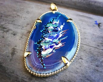 Abstract Painting-Deep Blue Agate- Geode stone- pendant- jewelry-abstract painting
