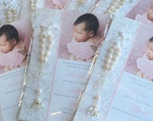 Lace Baptism Favor Cards with angel rosaries