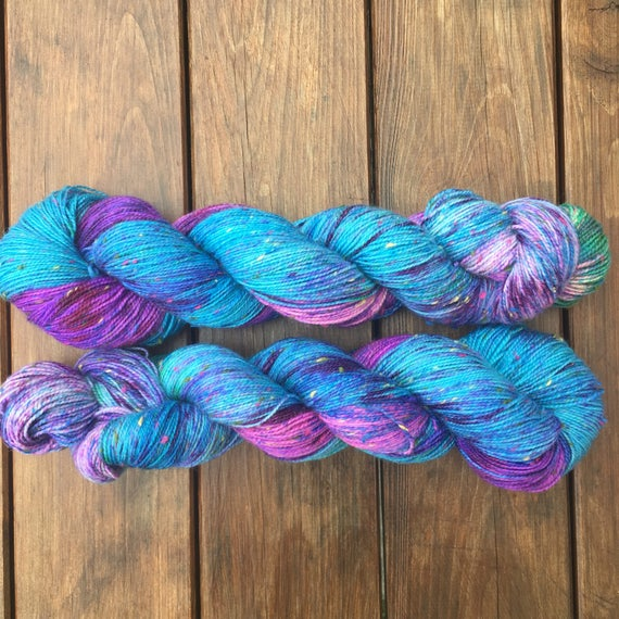 Blue Raspberry Multicolour Donegal sock, speckled indie dyed merino yarn