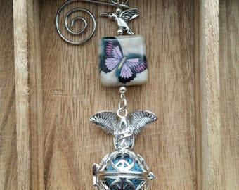 Pewter Hummingbird and purple butterfly fragrance holder,Butterfly,Angel,Spiritual,Essential Oil Accessory