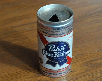 Vintage 1970's Pabst Blue Ribbon Logo Aluminum Pull Tab 7 oz. Display Beer Can - Pabst Brewing Company, Milwaukee, Wisconsin, WI