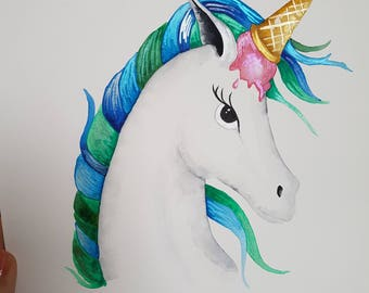 Uni-cone~unicorn ice cream original watercolour painting