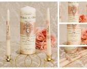 Rose Gold Unity Candle Set, Wedding Unity Candle Set, Personalized Ceremony Blush Unity Candles Set, Crystal Wedding Candle Set