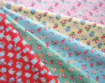 Bundle of 1/8 Yuwa Atsuko Matsuyama 30's Collection Floral Fabric in 5 Colorways. Made in Japan.