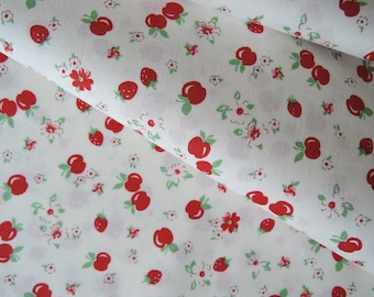 "Fat Quarter of 2016 Lecien Retro 30's Strawberries Apples and Floral Fabric on Off White Background. Approx. 18"" x 22"" Made in Japan"