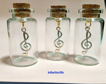 Lot of 3pcs Gold Color Musical Note Metal Charm In A Mini Glass Bottle With Cork. #CIB121xx.