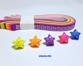 """Pack of 200 Strips Mini Size Luminous Hot-Stamping Lucky Stars Origami Paper Kit. """"Best  Wishes"""". 24.5cm x 1.0cm. #HS117. (HS paper series)."""