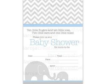 Blue Chevron Elephant Baby Shower Fill-In Invitations