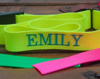 "Luggage Strap , bag strap,Personalized Embroidered strap,  Fluorescent  84"" long 1.5"" wide"