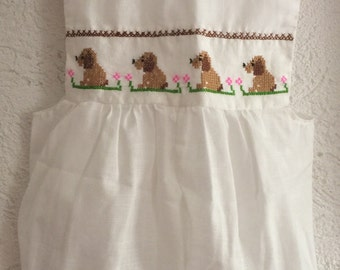 Girl's Mexican jumper hand embroidered with Colorful doggies